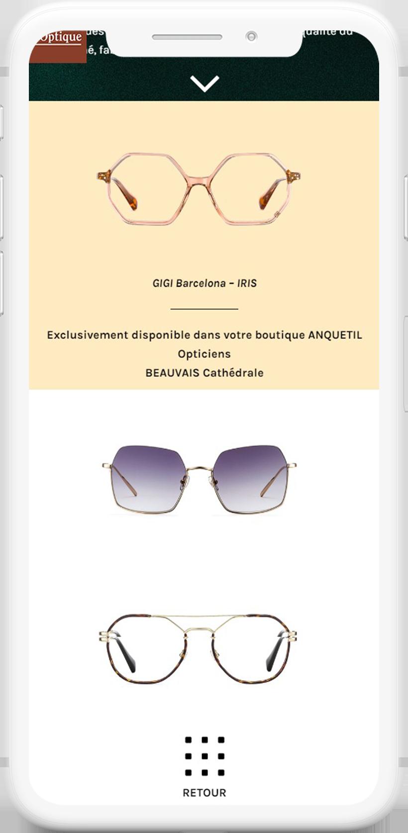 site internet opticien mobile